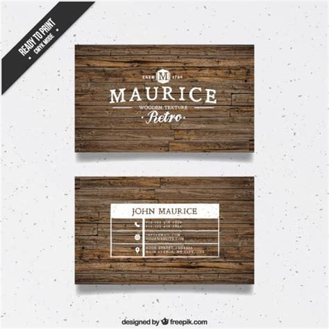card visit template psd wood wood business card in retro style vector free download