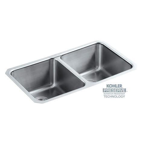 kohler stainless steel undermount kitchen sinks kohler undertone preserve undermount stainless steel 32 in 9650