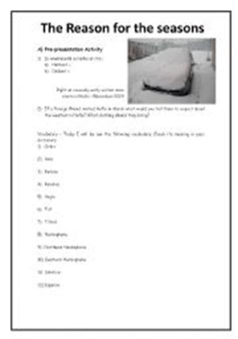 reasons for seasons worksheet worksheets for all