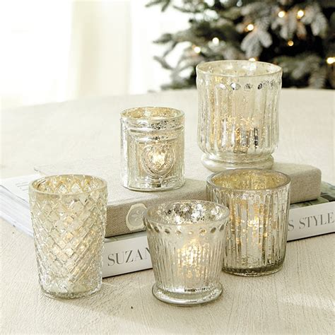 3998 tea light votives mercury glass votive holders set of 5 ballard designs