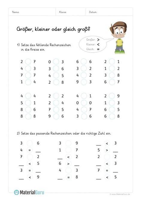 groesser kleiner mit bildern mathe grundschule mathe