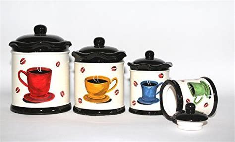 tuscany colorful coffee bean hand painted canister set