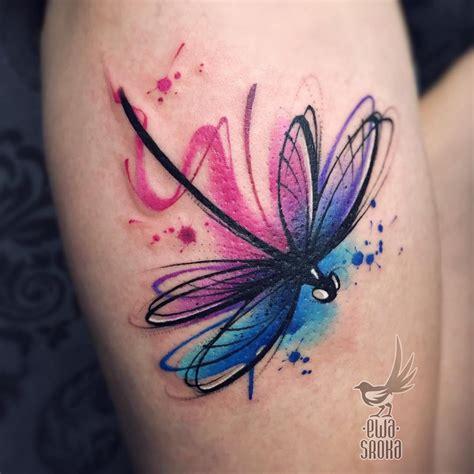 watercolour tattoo  dragonfly  leg tattoo