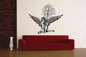 Wandtattoo Auf Rauputz : wandtattoo engel mit kreuz kaufen bei ~ Michelbontemps.com Haus und Dekorationen