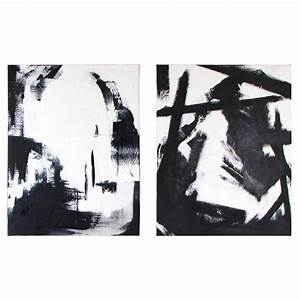 Large Black and White Oil on Canvas Abstract Paintings by ...