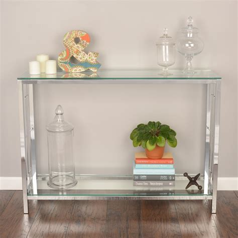 modern console table for entryway console table tempered glass chrome entry foyer hall sofa
