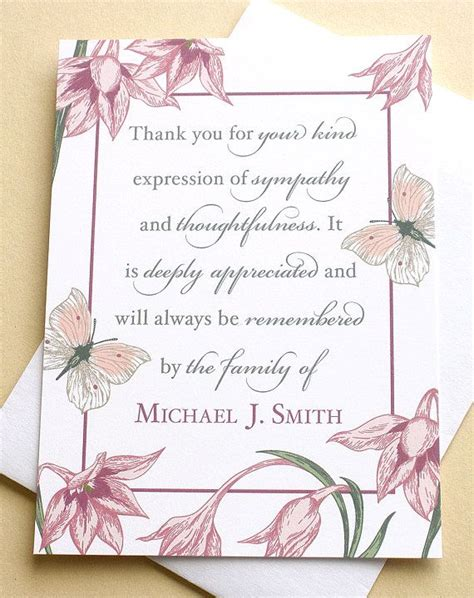 template card for funeral flowers condolence thank you cards with flowers and butterflies
