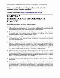 Corporate Finance Ross 9th Edition Solutions Manual Pdf