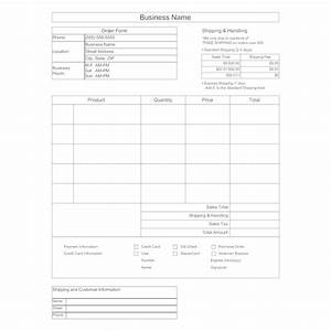 Credit Card Order Form Template Purchase Order Form Template