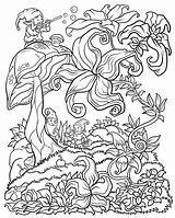 Coloring Adults Pages Floral Adult Forest Books Abstract Printable Digital Detailed Colored Bestcoloringpagesforkids Fantasy Gnomes Version Flower Onlycoloringpages sketch template
