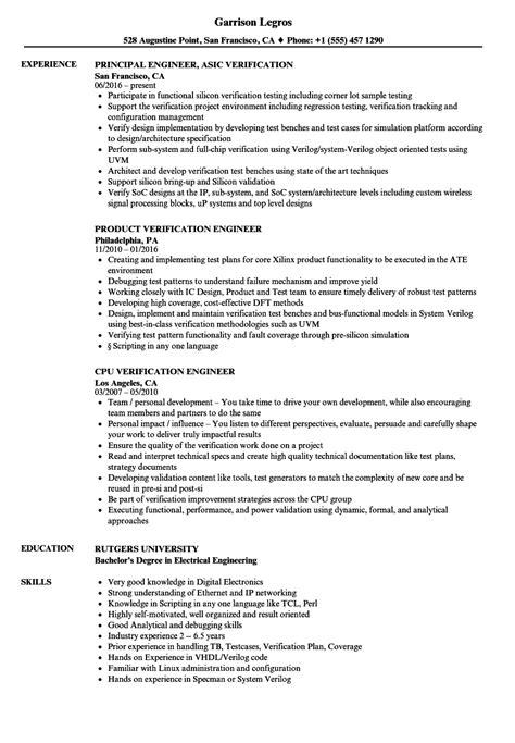 engineer verification resume sles velvet
