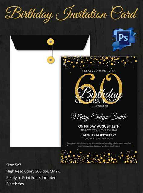 60th birthday invitation templates birthday invitation template 32 free word pdf psd ai format free premium