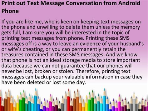 how to print text messages from phone print out text message conversation from android phone