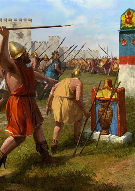 spartan war cemetery battle by ethicallychallenged spartan hoplites