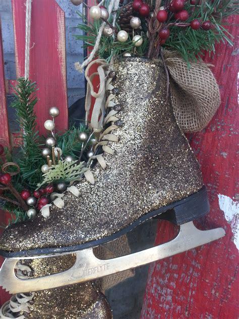 glittered ice skates  christmas  winter decor