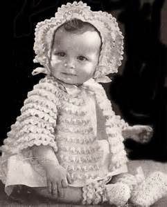 Vintage Crochet PATTERN to make - Baby Sacque Bonnet Booties Set. NOT a finished item. This is a pattern and/or instructions to make the item only