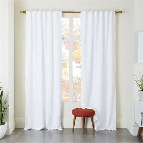 White Curtains Drapes - belgian flax linen curtain blackout lining white