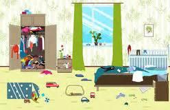 woman   messy room cartoon stock illustration