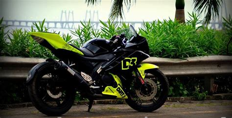 R15 Bike Modified by Yamaha R15 V2 Modified D3 Fluorescent Green