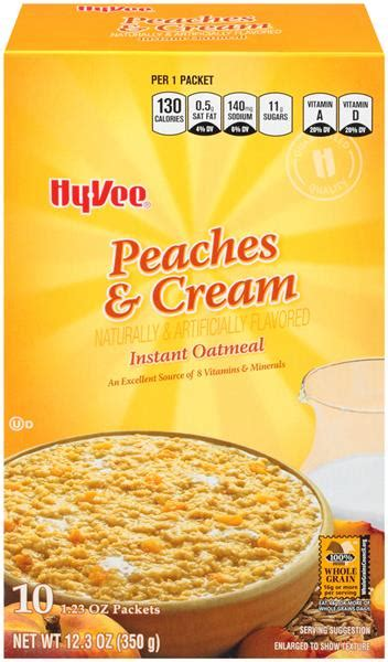 Hy-Vee Peaches & Cream Instant Oatmeal 10-1.23 oz Packets ...