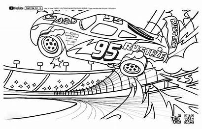 Mcqueen Lightning Crash Coloring Tim Scene