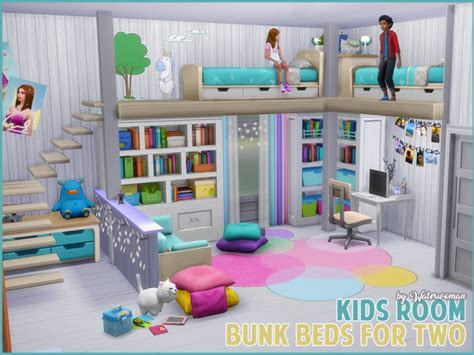Kids room bunk beds for two at Akisima » Sims 4 Updates