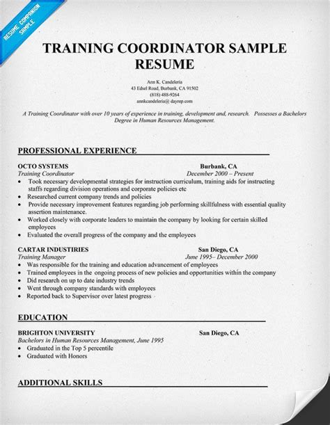 training coordinator resume  training