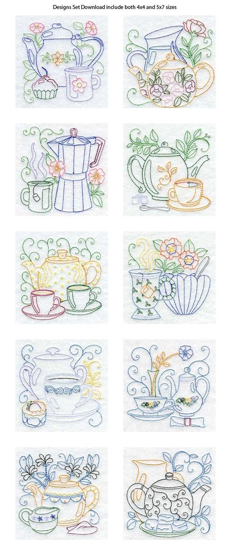 kitchen towel machine embroidery designs line tea pots embroidery machine design details 8670