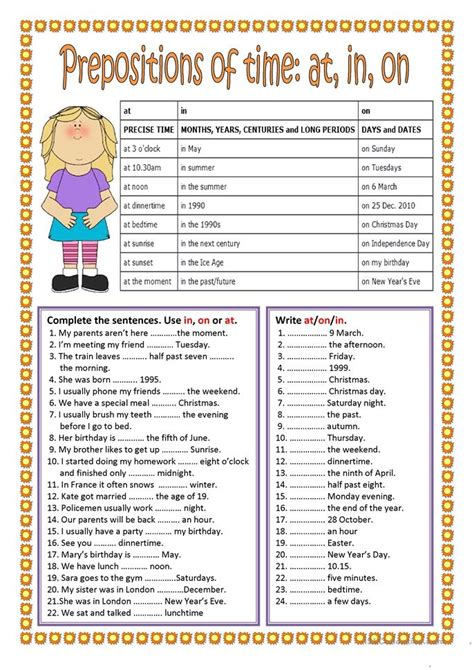 prepositions  time    worksheet  esl