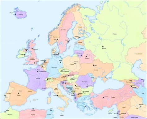 big map  europe  capital cities europe map africa