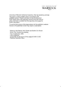 decision  sampling wrap warwick research archive portal