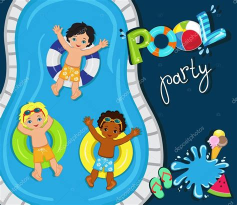 pool party  boysvector illustration stock vector