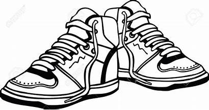 Shoes Clipart Sneakers Pair Shoe Drawing Vector
