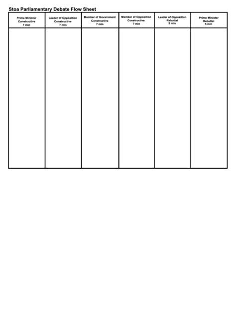 policy debate flow template stoa parliamentary debate flow sheet printable pdf