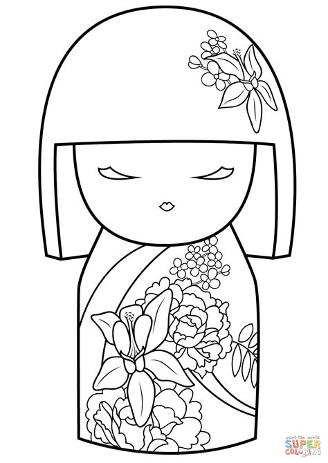 Coloring Kimmi by Kimmi Doll With Flower Ornament Coloring Page Free
