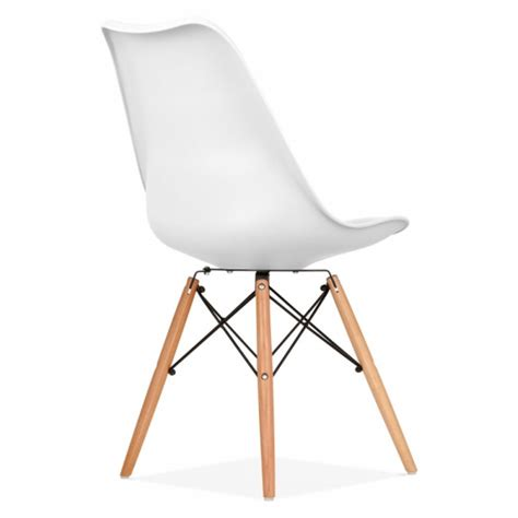 chaise blanche et grise white pad dining chair with dsw style wood legs cult uk