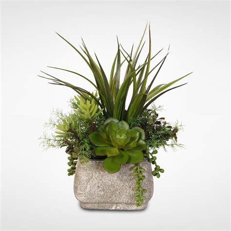 Silk Succulent Arrangement With Grass in a Stone Pot - Walmart.com - Walmart.com