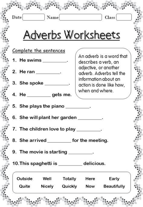 adverbs worksheets forgrade   home teacher
