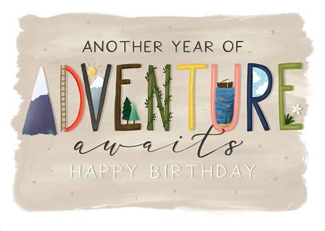 posy print  adventure birthday card kc