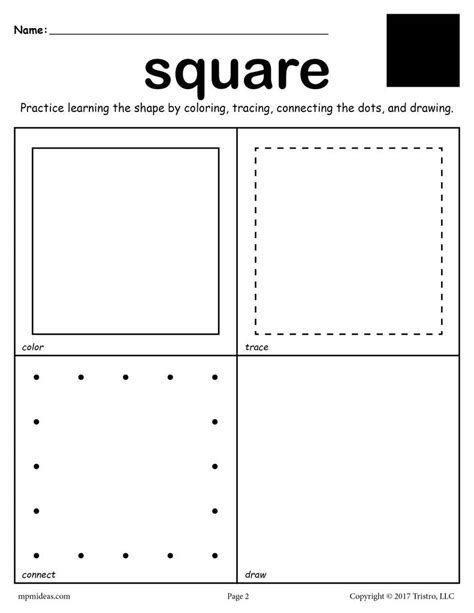 shapes worksheets color trace connect draw