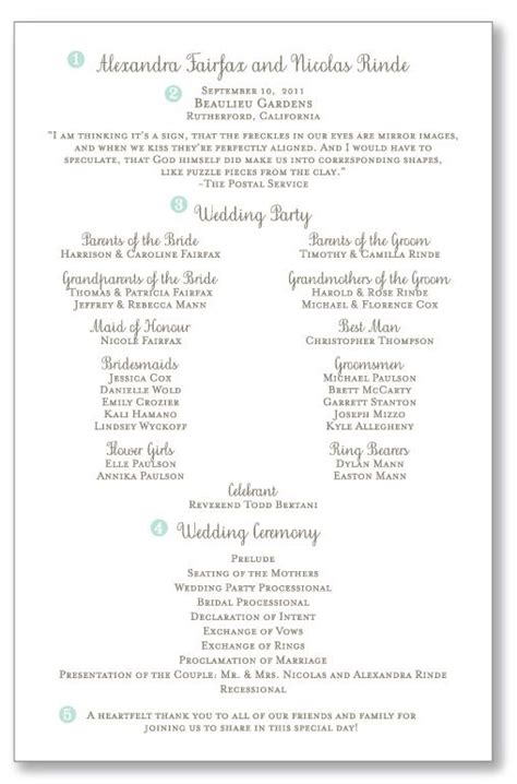 ceremony program layout wedding programs