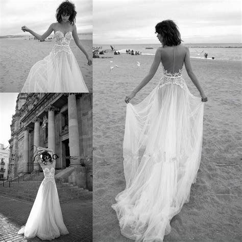 Elegant Lace Backless Beach Wedding Dresses Vintage 2016