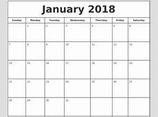 January 2018 Calendar calendar for 2019