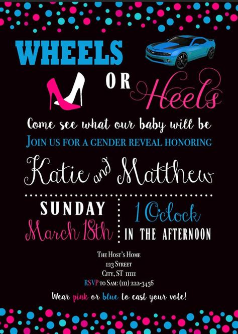 wheels  heels turbos  tutus gender reveal  baby shower