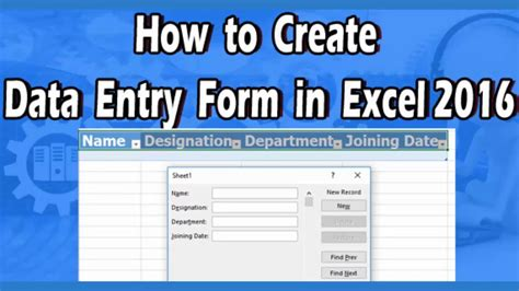 how to create data entry form in excel 2016