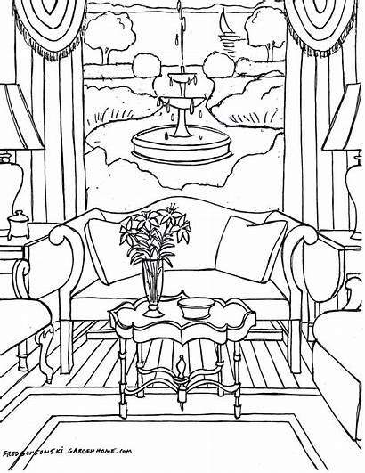 Coloring Pages Interior Adults Rooms Adult Living