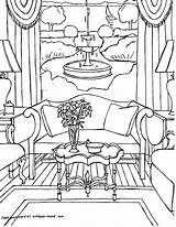 Coloring Pages Interior Adults Adult Sheets Colouring Printable Living Rooms Point Gonsowski Fred Perspective Drawings Getcolorings Colour Coloriages Cool Interiors sketch template