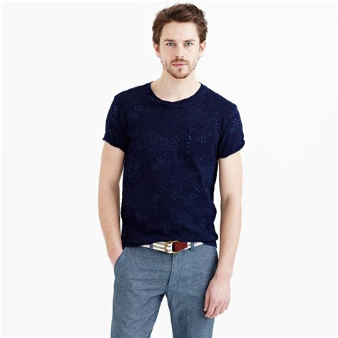 wallace and barnes j crew wallace barnes indigo pocket t shirt in floral in