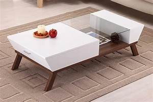 Wide designs of white coffee table with storage homesfeed for Coffee table white legs wood top