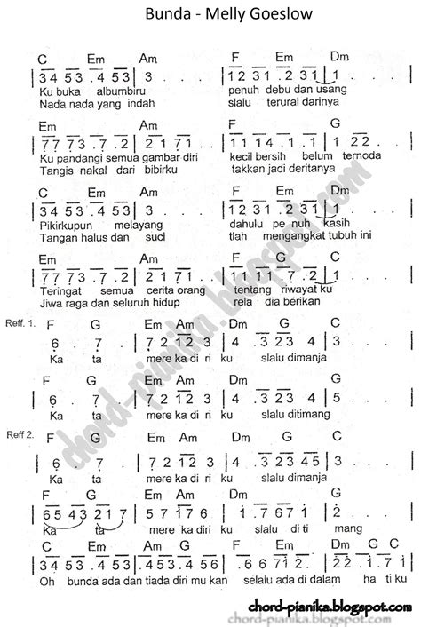 kunci pianika bunda not angka bunda melly goeslow